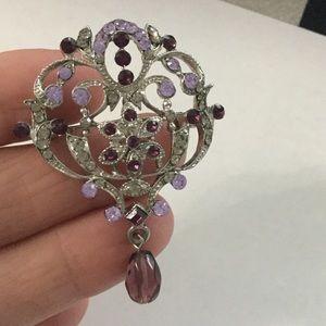 Brooch lapel pin lavender purple silver tone